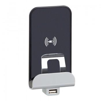 Etika. Беспроводное зарядное устройство Qi 1А с дополнительным разьемом USB A 5В 2,4А. Цвет Алюминий