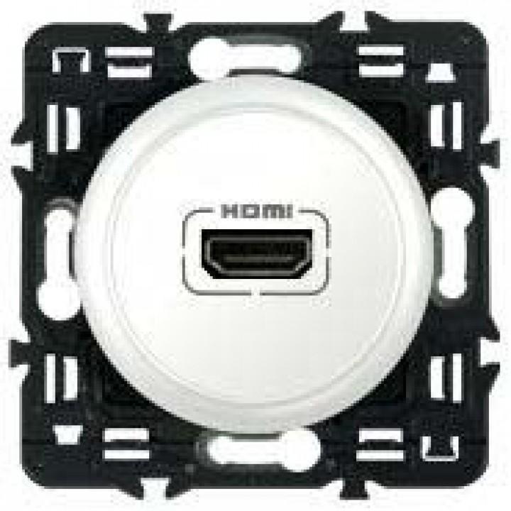 Розетка мультимедийная Audio/video HDMI, с переходником, белый