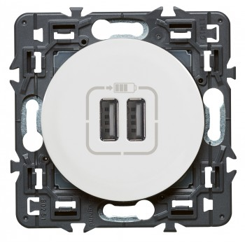 Розетка USB для зарядки двойная, белый