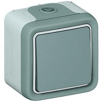 Выключатель 1-но клавишный с 2-х мест (переключатель), накладной, серый