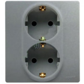 Розетка 2п+З 220В двойная (в одну монтажную коробку) винты, алюминий
