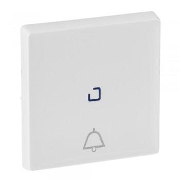 Кнопка 1-но клавишная 1но+1нз с символом звонка с центральной подсветкой, белый