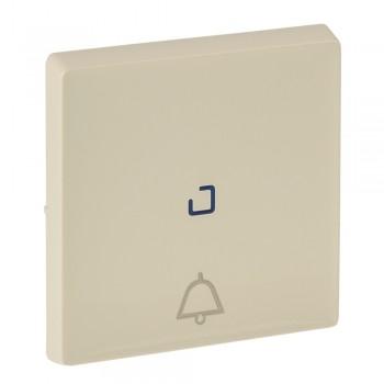 Кнопка 1-но клавишная 1но+1нз с символом звонка с центральной подсветкой, слоновая кость
