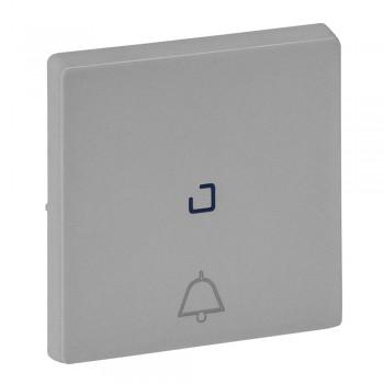 Кнопка 1-но клавишная 1но+1нз с символом звонка с центральной подсветкой, алюминий