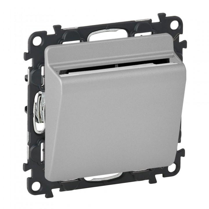 752025 , 755162 , 089806  Выключатель с ключ-картой c подсветкой, алюминий Legrand