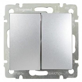 Выключатель 2-х клавишный, алюминий