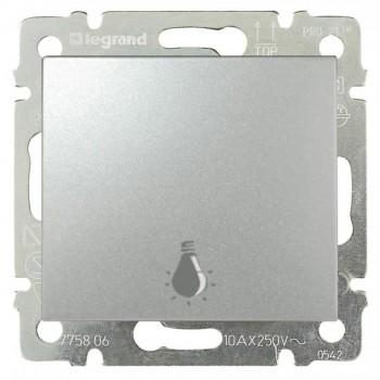 Кнопка 1-но клавишная 1но с символом свет, алюминий