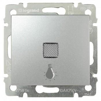 Кнопка 1-но клавишная 1но с символом свет с подсветкой, алюминий
