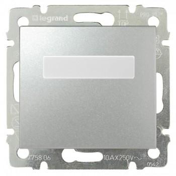 Кнопка 1-но клавишная 1но с полем для надписи с подсветкой, алюминий