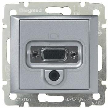 Розетка VGA HD15 мама + мини-джек 3.5мм, алюминий
