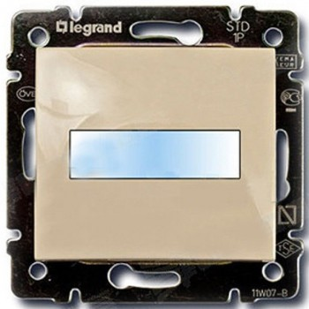 Кнопка 1-но клавишная 1но с полем для надписи с подсветкой, слоновая кость