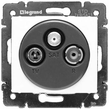 Розетка TV-RD-SAT простая для 2-х кабелей, белый