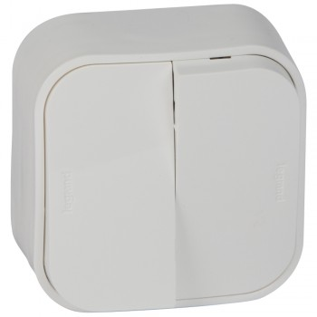 Выключатель 2-х клавишный с 2-х мест (переключатель), белый