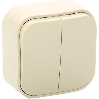 Выключатель 2-х клавишный с 2-х мест (переключатель), слоновая кость