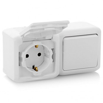 Блок: розетка с крышкой + выключатель 1-но клавишный ip44, белый