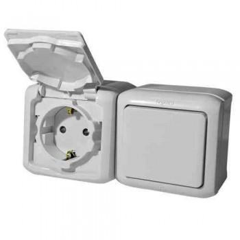 Блок: розетка с крышкой + выключатель 1-но клавишный ip44, серый
