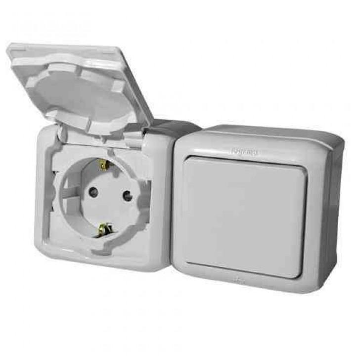 782348 Блок: розетка с крышкой + выключатель 1-но клавишный ip44, серый Legrand